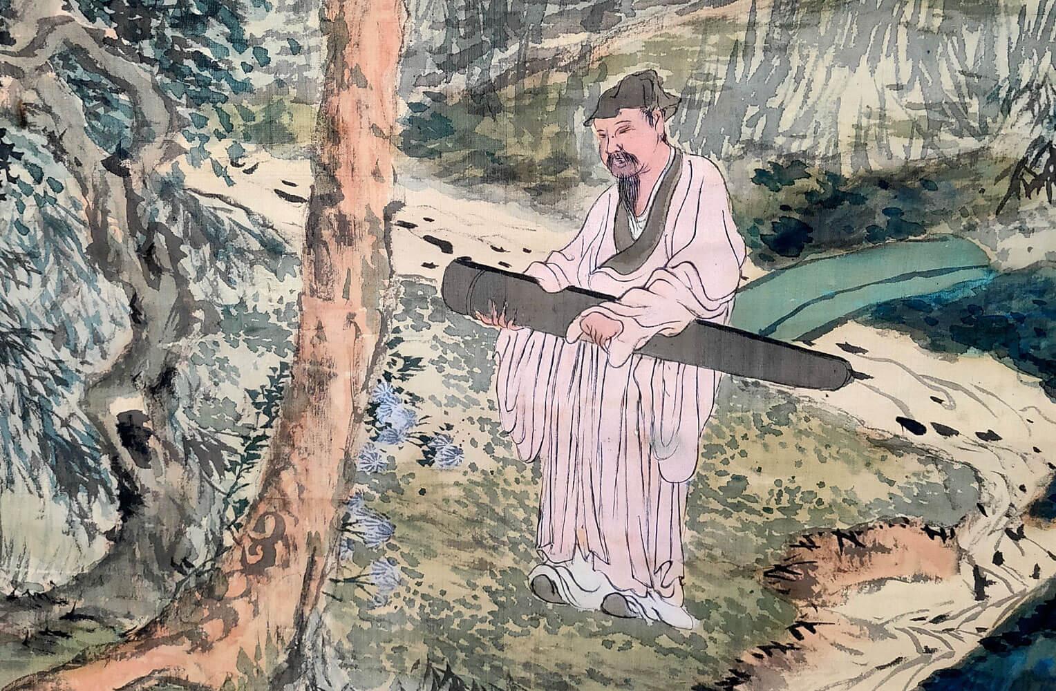 富岡鉄斎 帰去来図 掛軸 野口小蘋(しょうひん)識