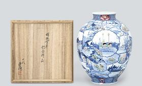 染錦東海道五拾三次花瓶