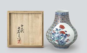 色鍋島有職文花瓶