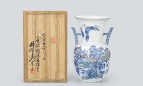 小畑柿右衛門 染錦館山水画花瓶