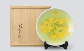 吉田 美統 釉裏金彩牡丹文飾皿