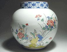 染錦花鳥文花瓶