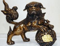 高岡銅器 旭峰「縄巻玉獅子」