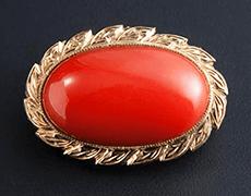 血赤珊瑚 ブローチ(k18yg)