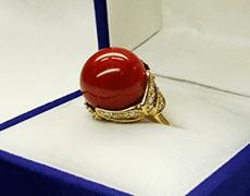 血赤珊瑚 ダイヤリング(k18yg)