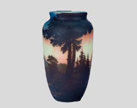山水風景文花瓶