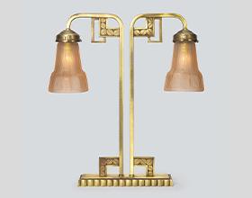 アール・デコ双灯テーブルランプ