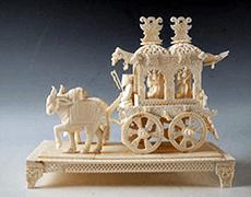 象牙置物/唐人と牛車