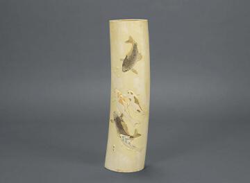 象牙鯉彫刻楯