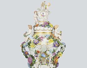 ドレスデン 恋人文蓋付飾り壺