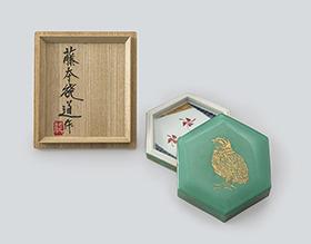藤本能道 緑釉金彩鶉文小箱
