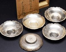 十世 中川浄益 南鐐(純銀)神鏡形茶托