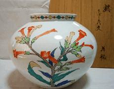 錦たばこ花文花瓶
