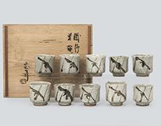 濱田庄司作 鐡繪茶碗