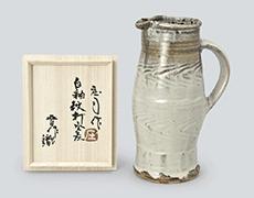 濱田庄司作 白釉紋打水差