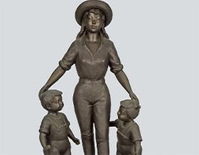 玉野勢三 大型ブロンズ彫刻像 母子