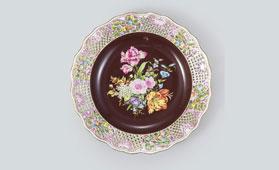 ヘレンド 花文透し皿