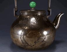 純銀 老松図彫金 銀瓶