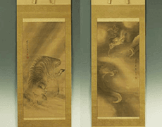 龍虎図掛軸絹本