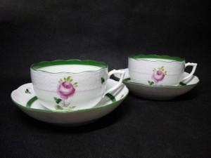 ヘレンド ウィーンのバラ グリーン ティーカップ&ソーサー