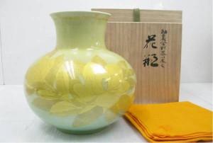 釉裏金彩泰山木文 花瓶