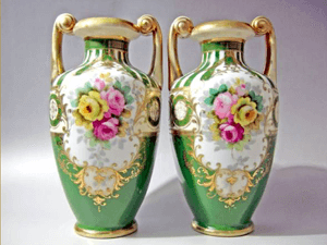 オールドノリタケ 金彩薔薇紋 花瓶